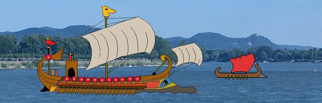 Römerschiff mit Drachenstandarte auf dem Rhein, Siebengebirge