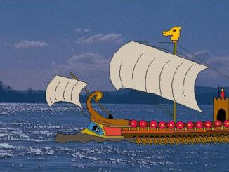Römerschiff mit Drachenstandarte auf dem Rhein,