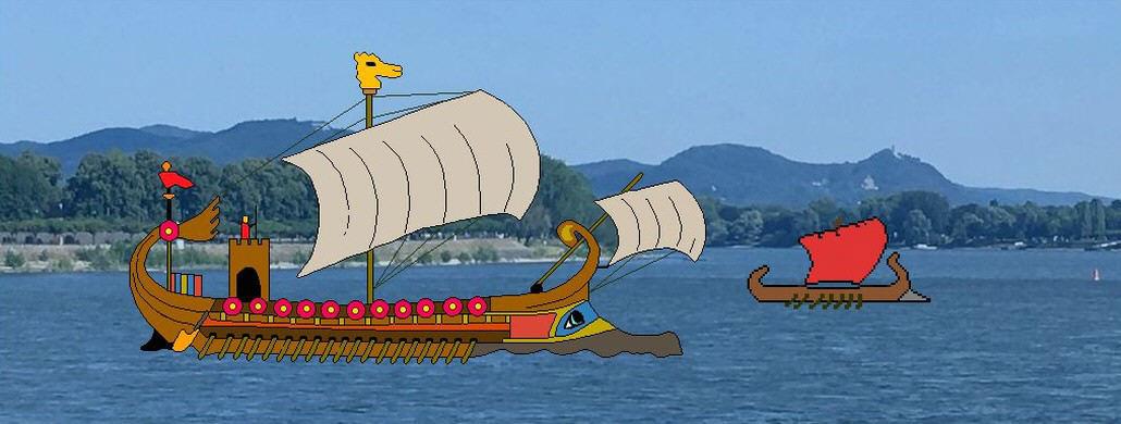 Römerschiff auf dem Rhein, Siebengebirge